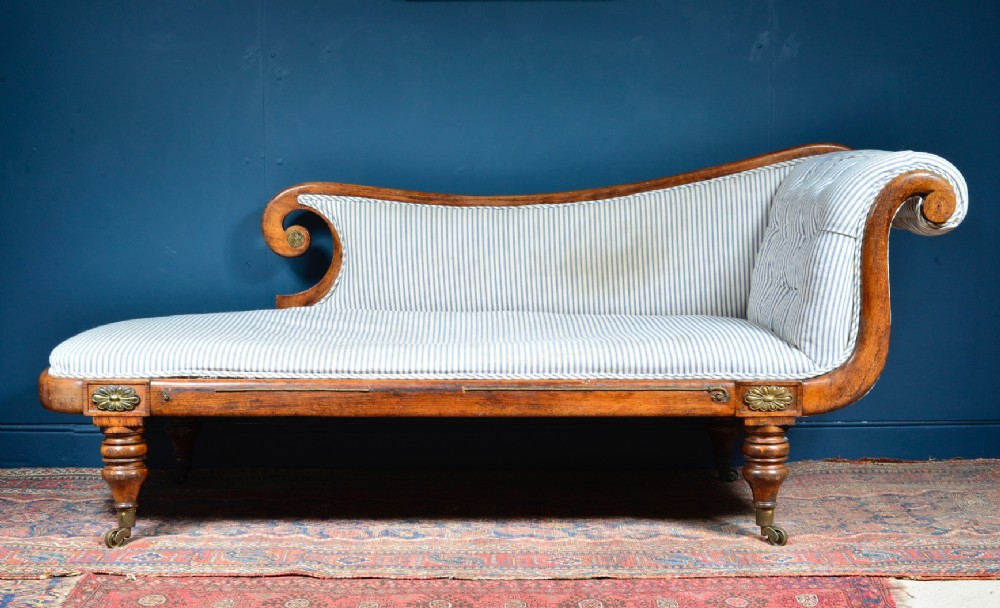 regency simulated rosewood scroll end chaise longue c1820