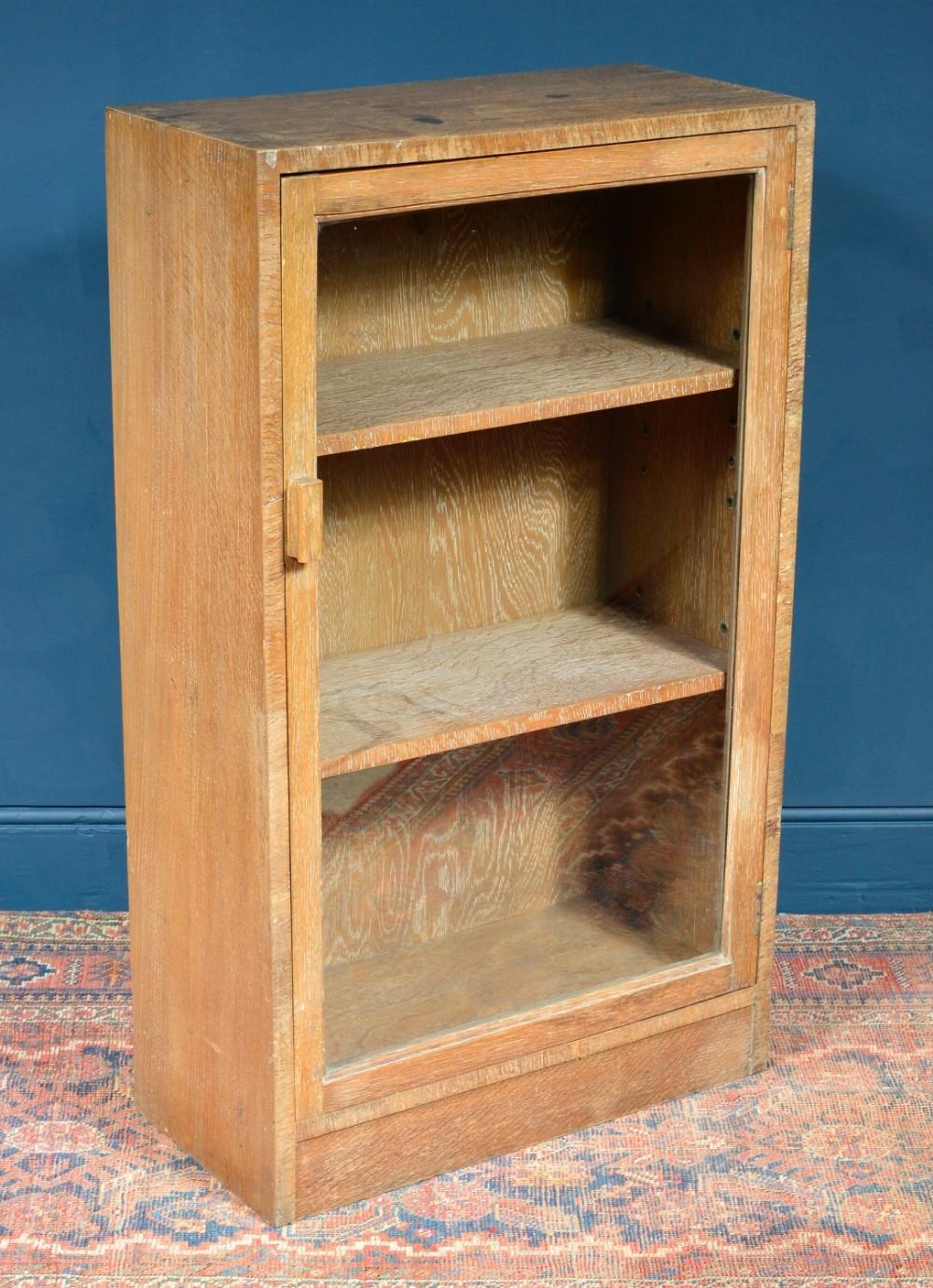 limed oak glazed bookcase cupboard in the manner of heal's 1930's