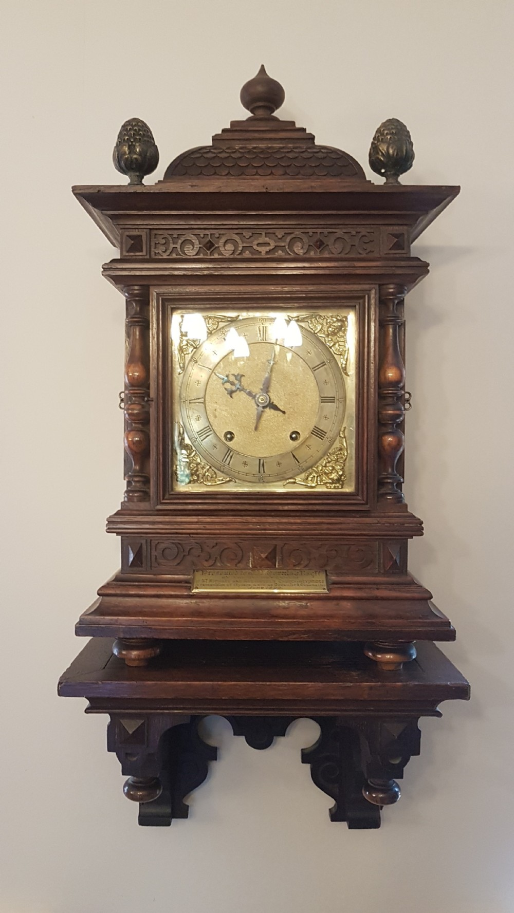 an impressive oak striking bracket clock by winterhalder and hoffmeier circa 1880