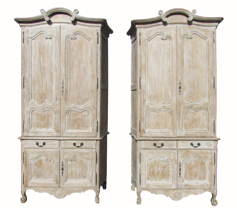 A Beautiful Pair Of Tall Antique French Painted Armoire