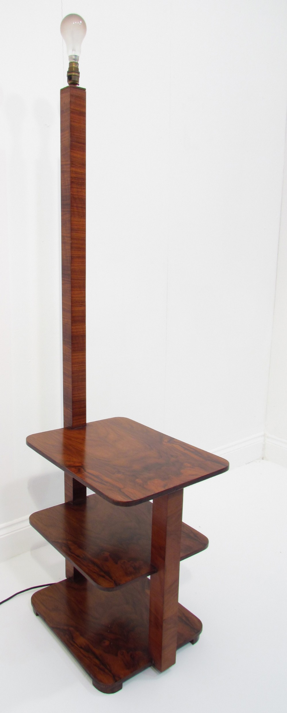 A beautiul antique art deco figured walnut 3 tier floor for 3 tier floor lamp