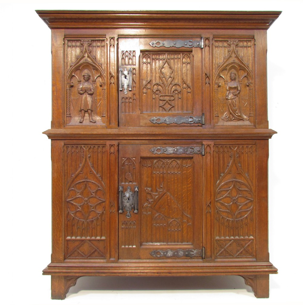 An Exceptional Antique Carved Oak Gothic Medieval Solid
