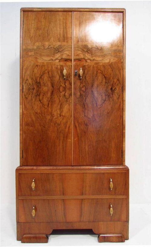 an art deco figured walnut wardrobe chest of drawers c 1920 tall boy antique photo art deco figured walnut wardrobe vintage
