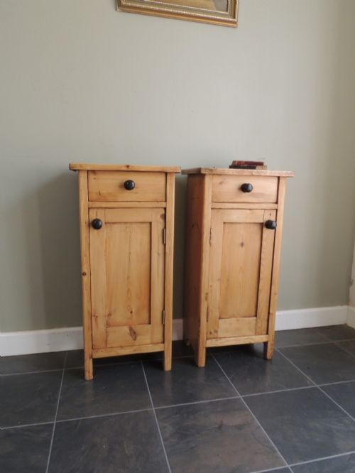 lovely pair of edwardian solid pine bedside cabinets
