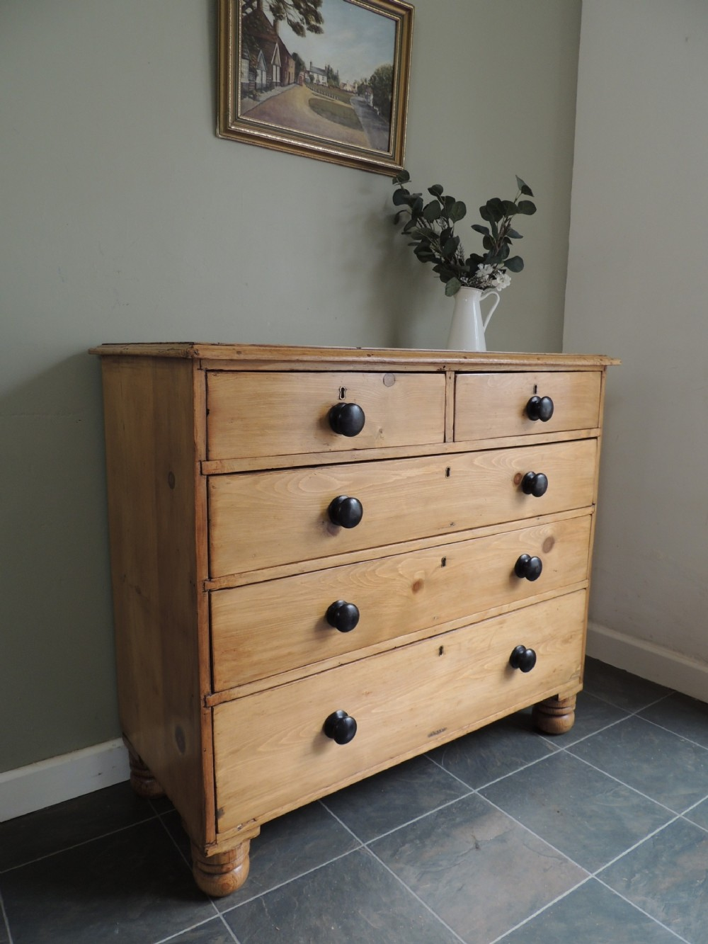 beautiful victorian pine chest of drawers extra wide