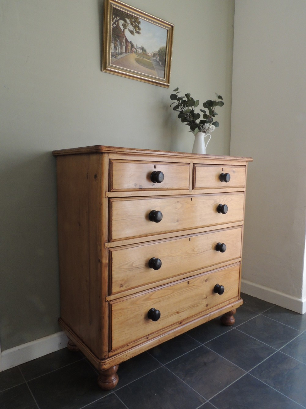 fabulous large victorian solid pine chest of drawers all original