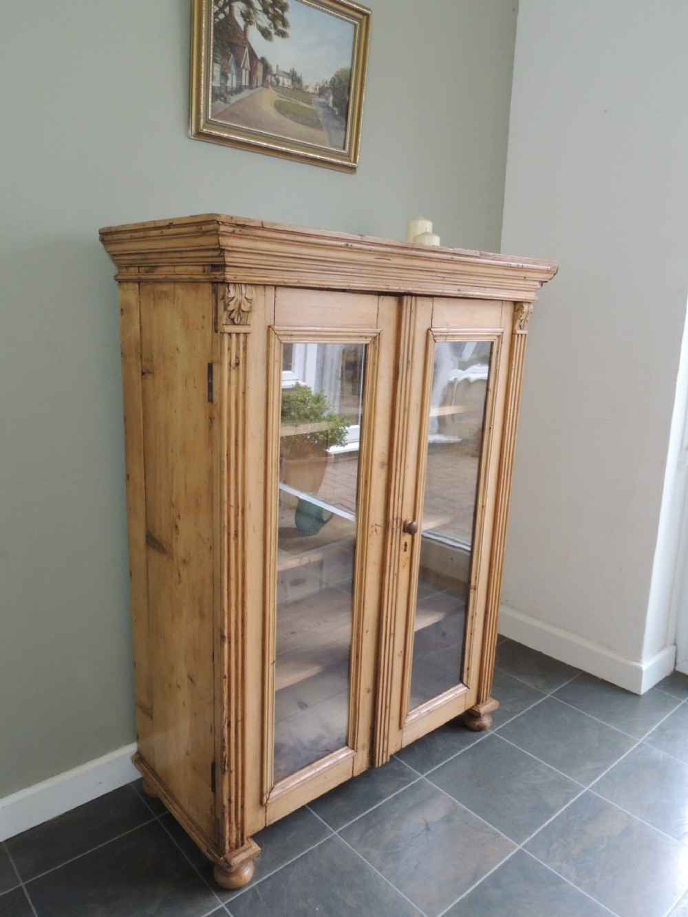 fabulous french antique pine glazed display cabinet bookcase unique