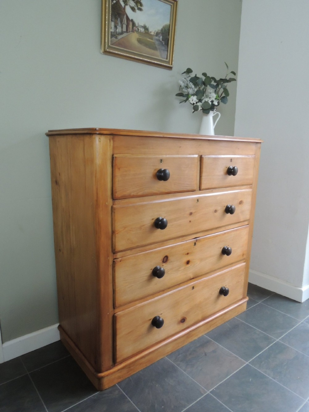 fantastic large victorian solid pine chest of drawers