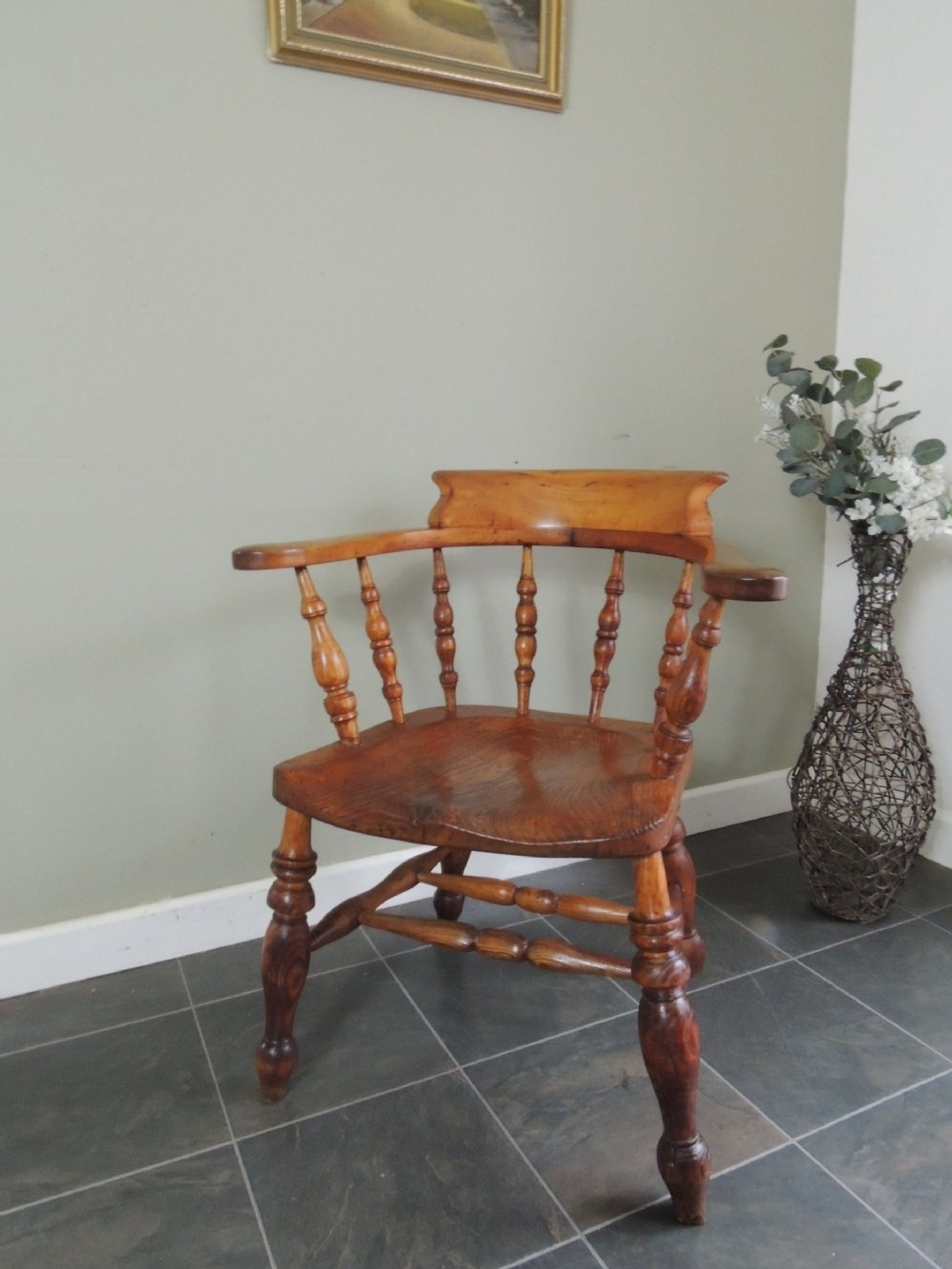 beautiful victorian captains smokers bow armchair