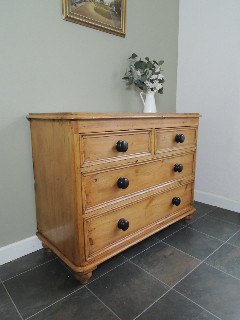 gorgeous victorian solid pine stripped chest of drawers extra wide