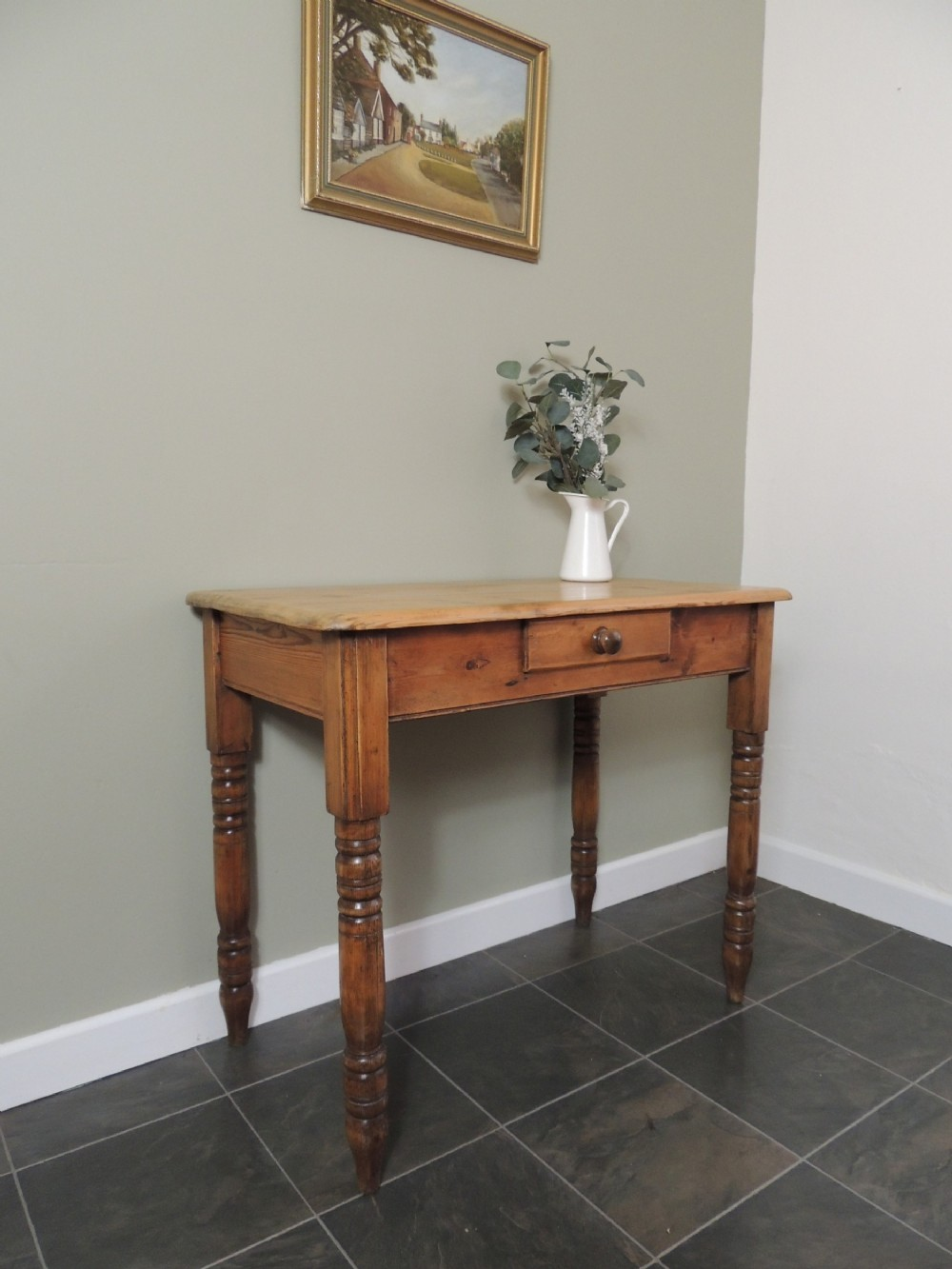 gorgeous victorian solid pine hall table with drawer