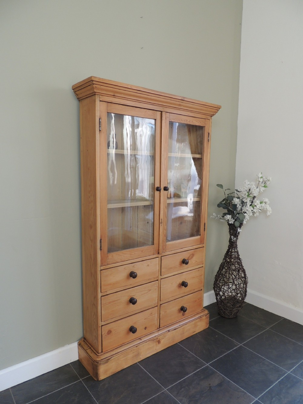 gorgeous victorian pine glazed cabinet with drawers