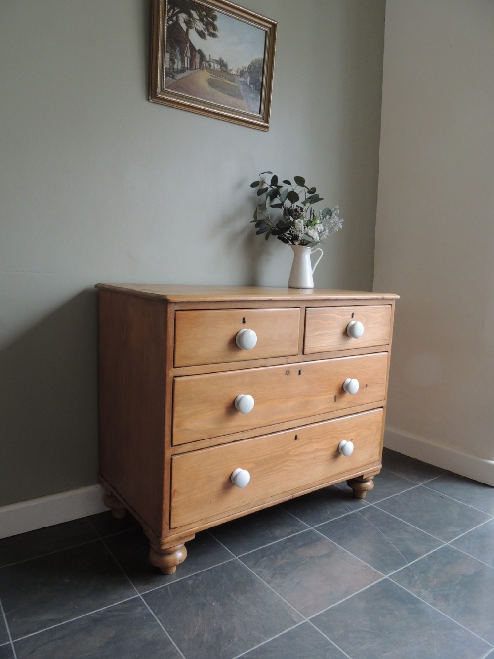 beautiful victorian solid pine chest of drawers porcelain knobs