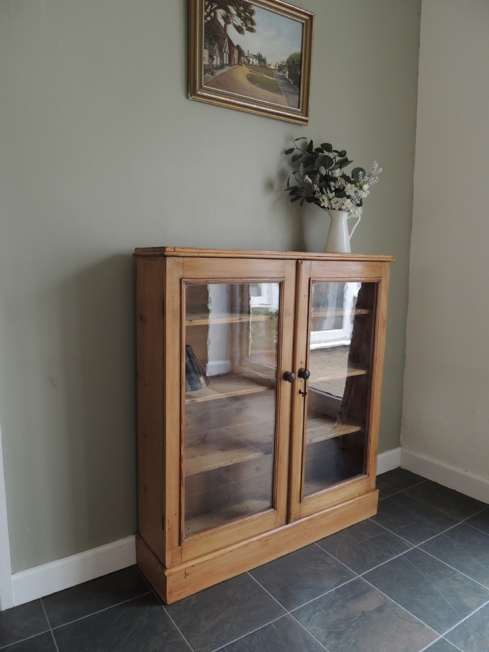 gorgeous victorian solid pine glazed display cabinet