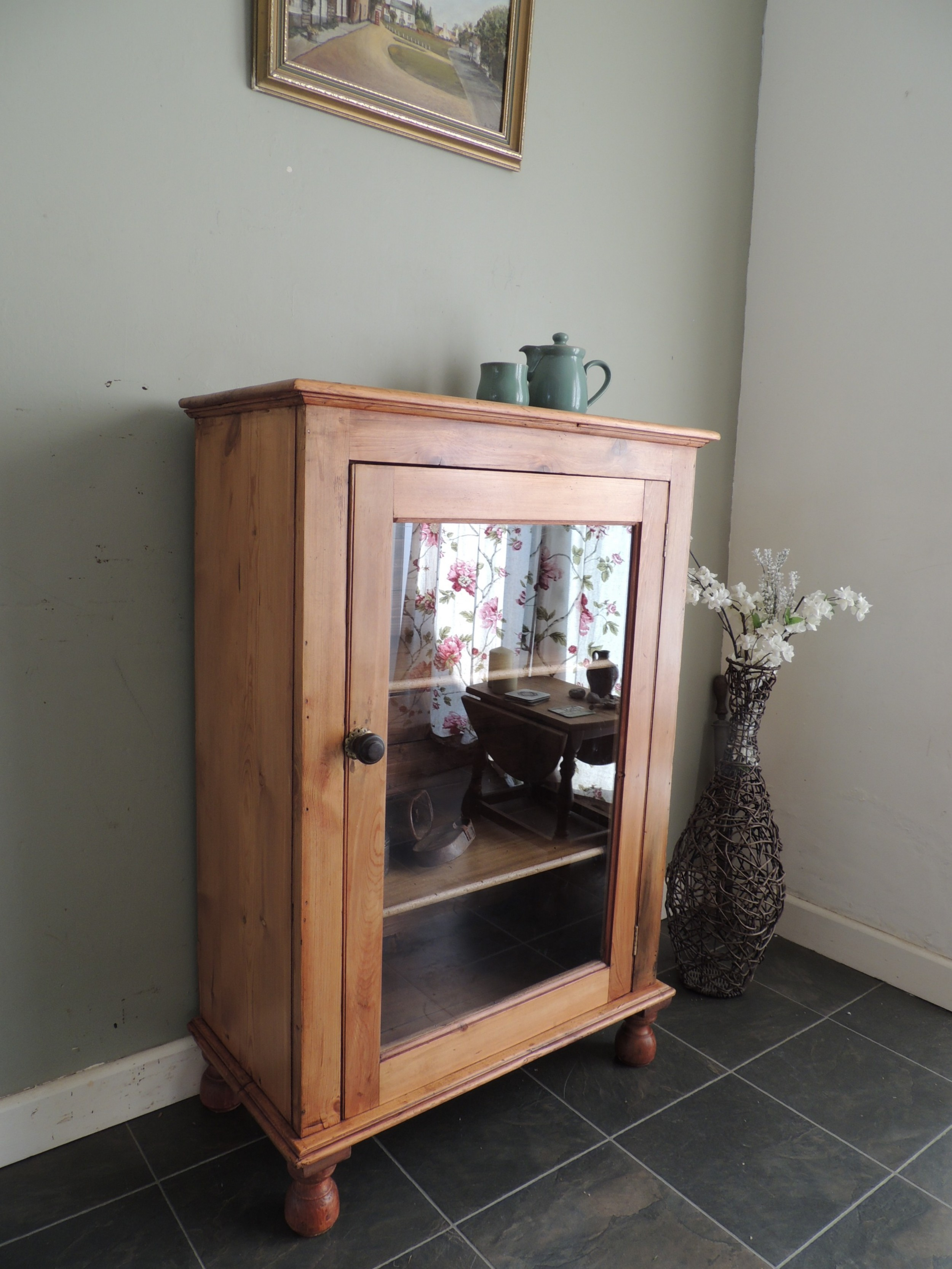 beautiful victorian solid pine glazed cabinet