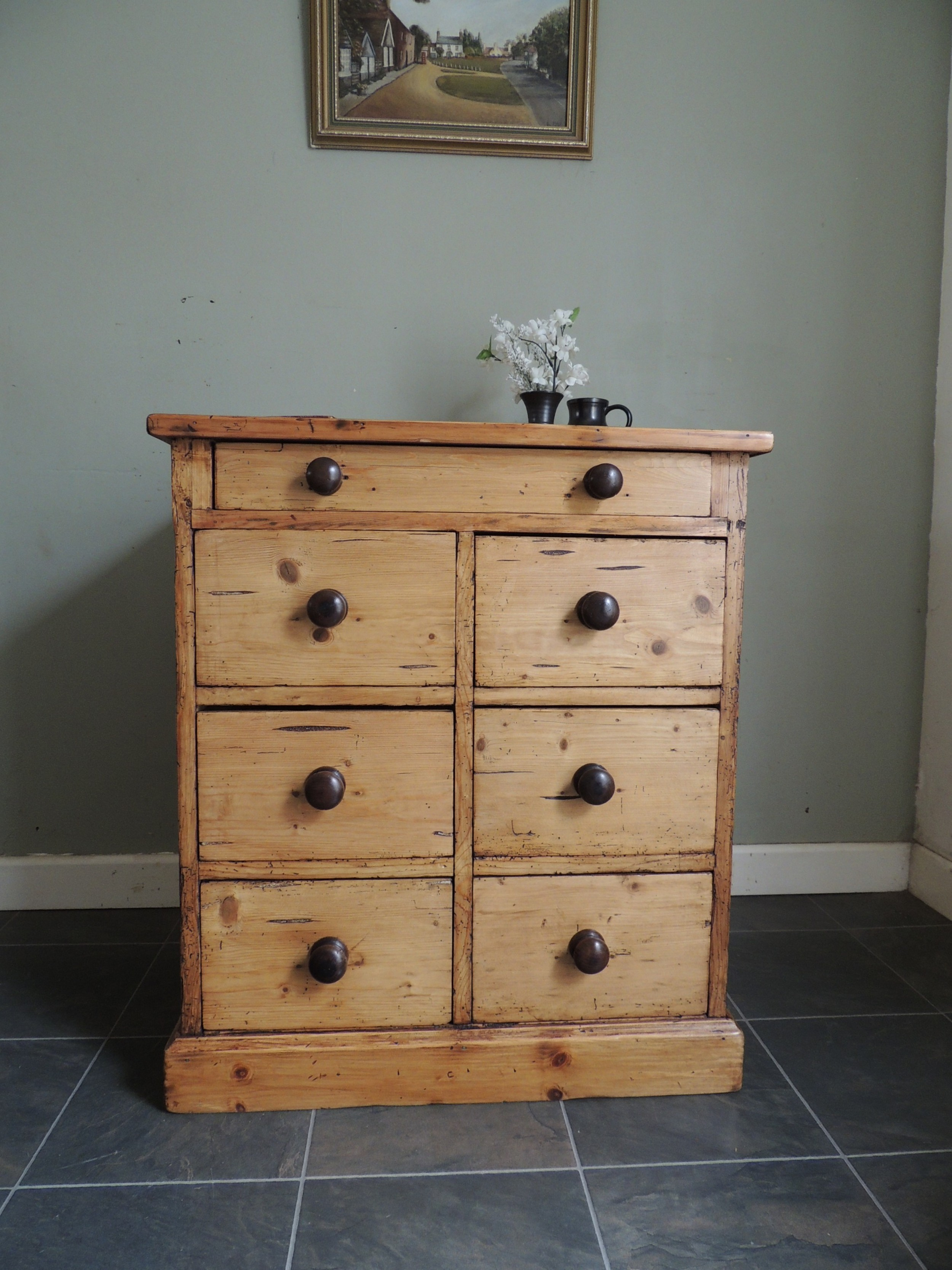 rustic stripped pine chest of 7 drawers extra deep
