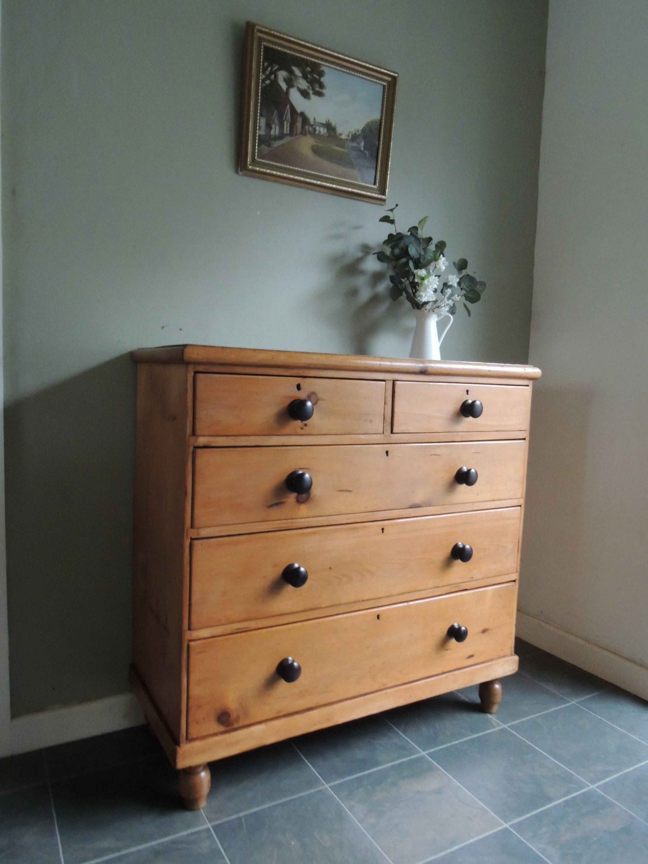 large solid pine stripped chest of drawers all original