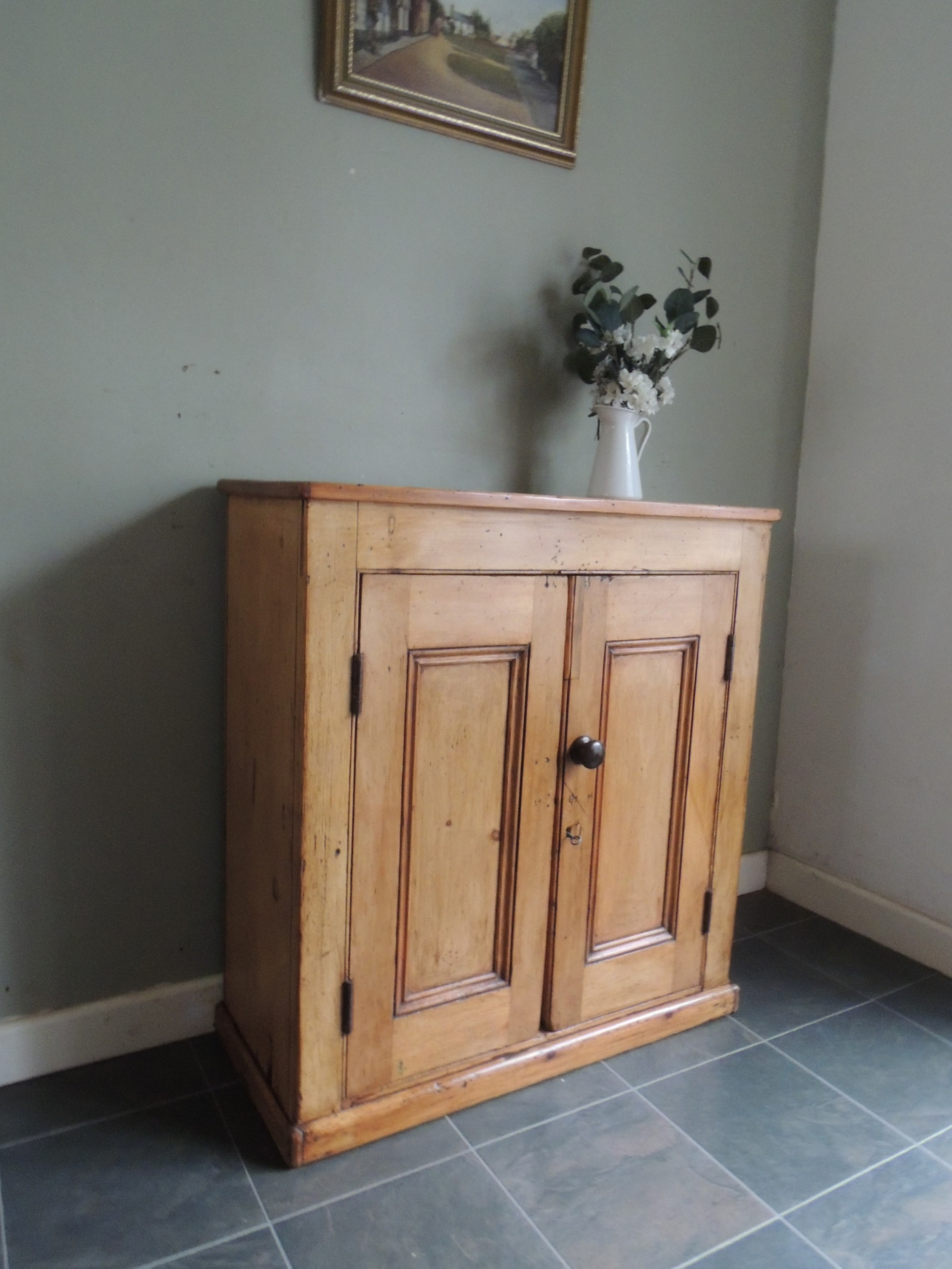 lovely rustic antique solid pine cupboard sideboard with key
