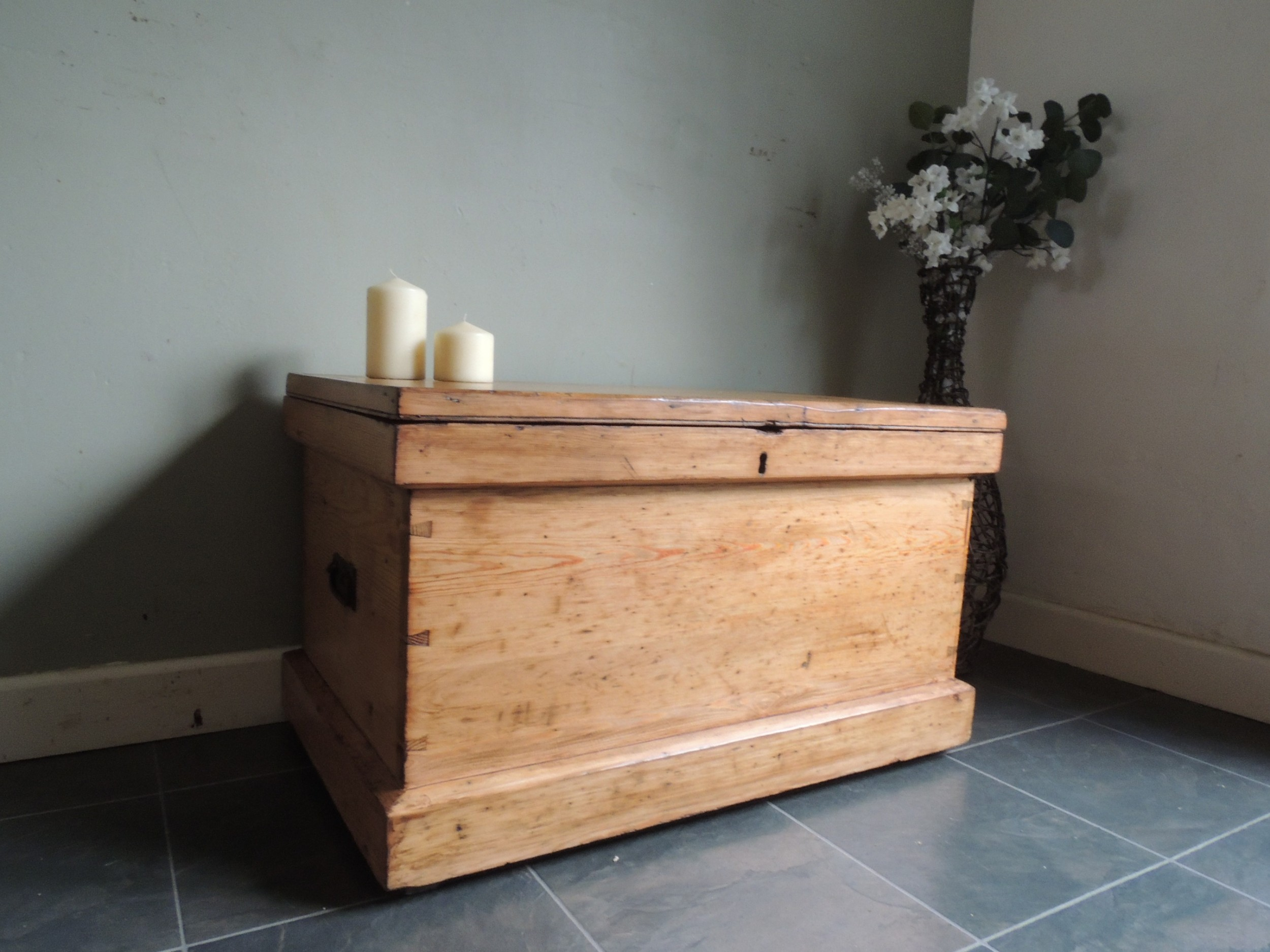 lovely stripped solid pine victorian blanket box