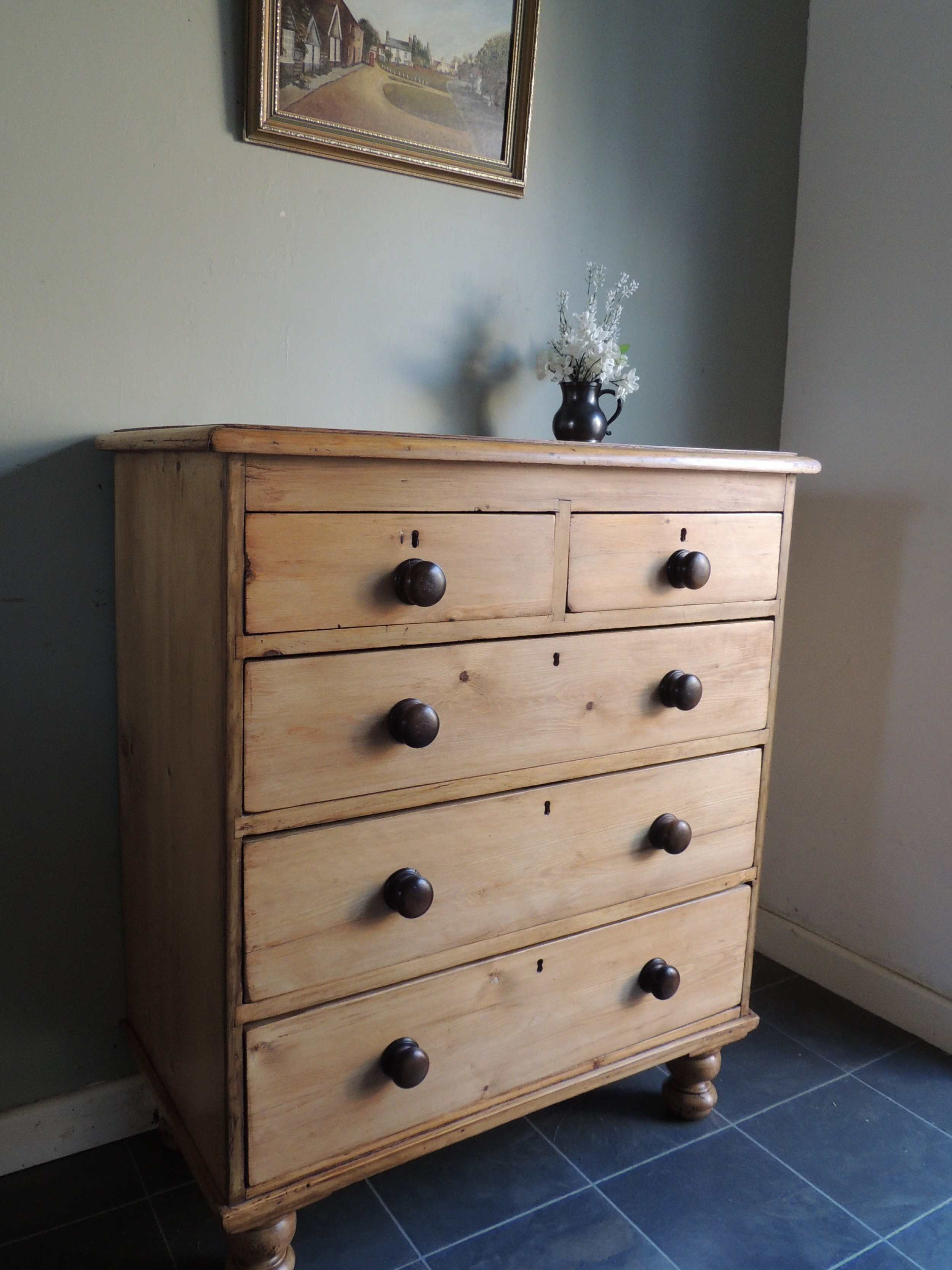 stunning large solid pine stripped chest of drawers