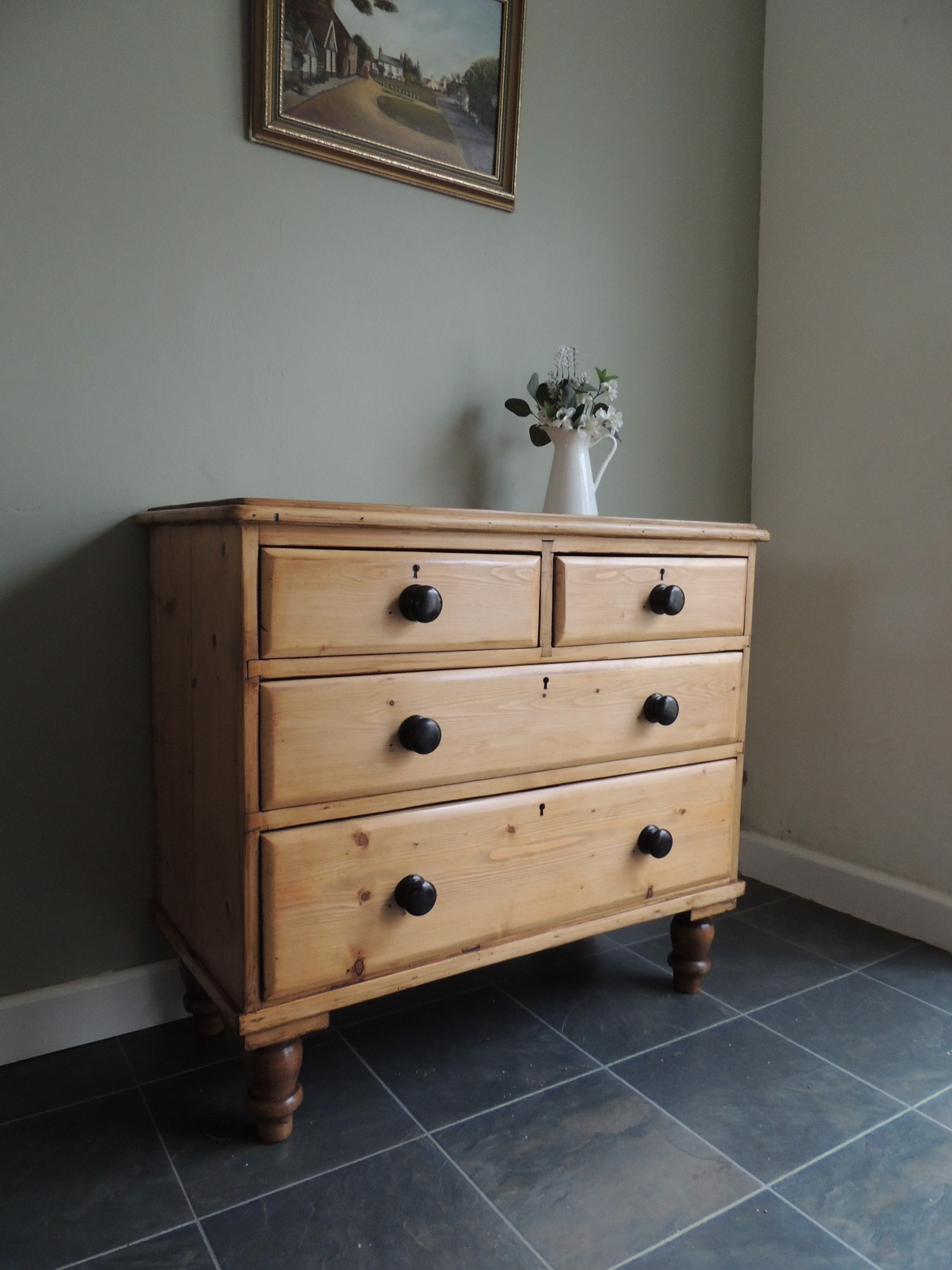 beautiful victorian solid pine stripped chest of drawers