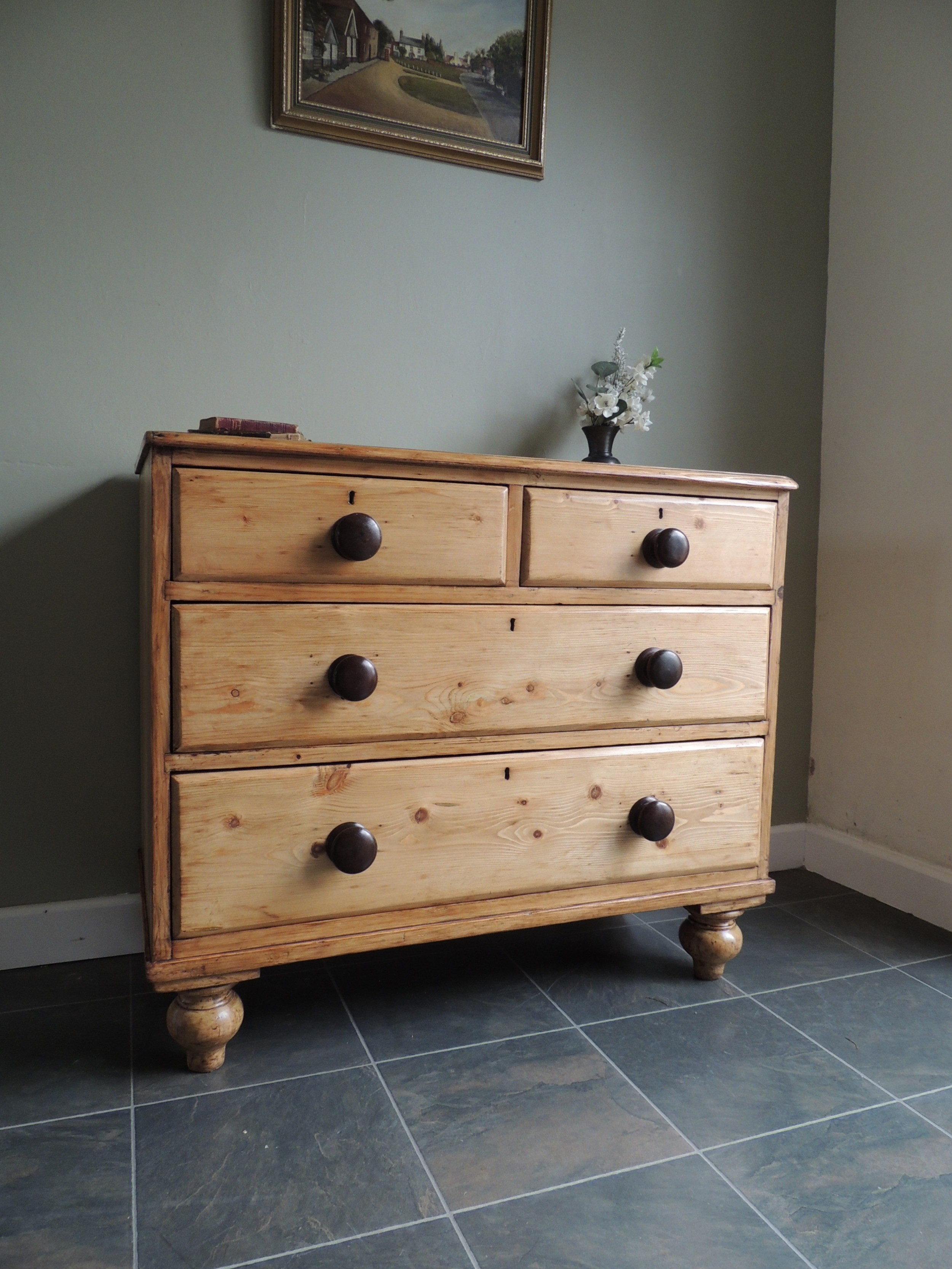 fabulous victorian solid pine stripped chest of drawers