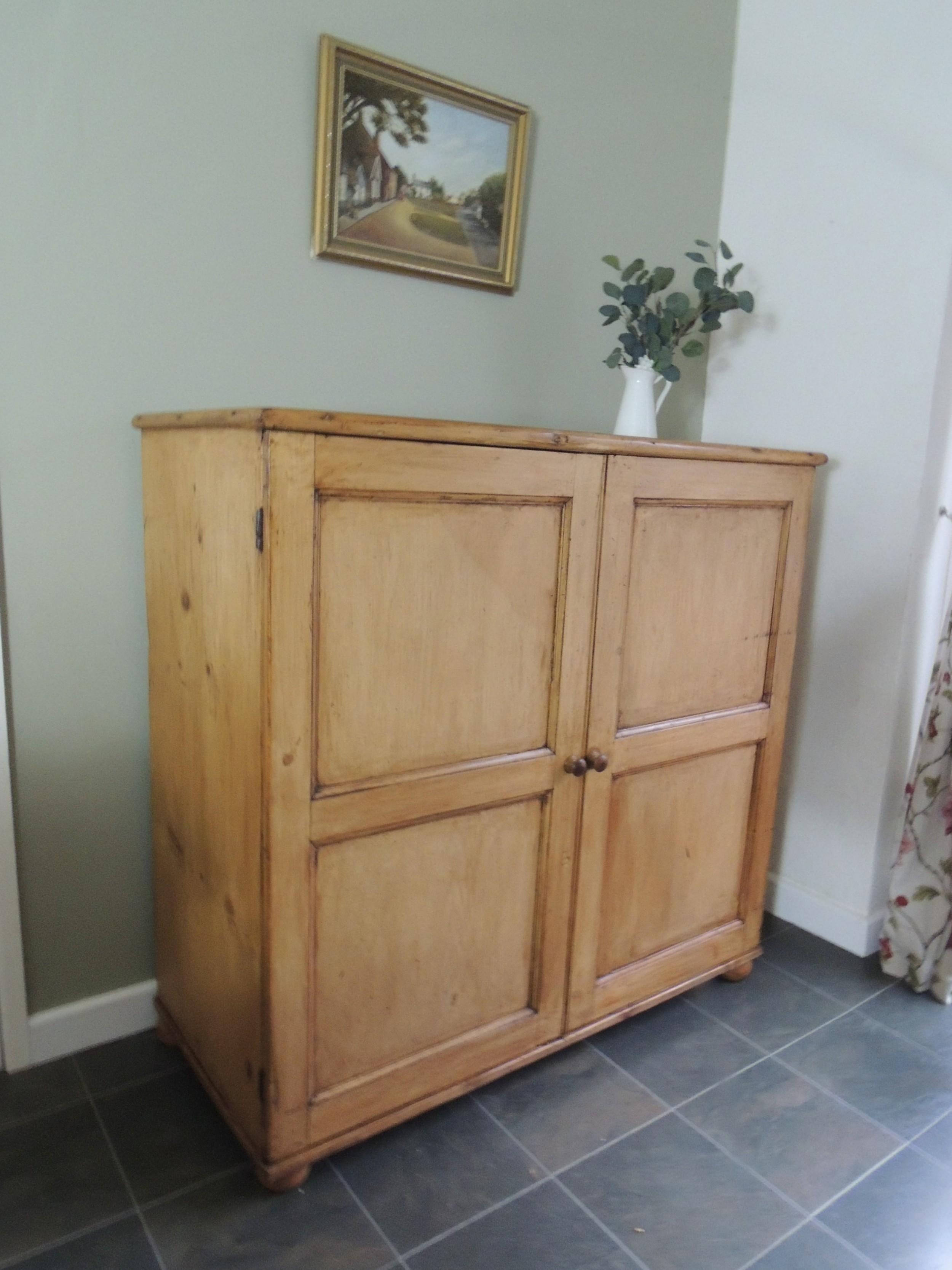 lovely large victorian pine school cupboard linen press