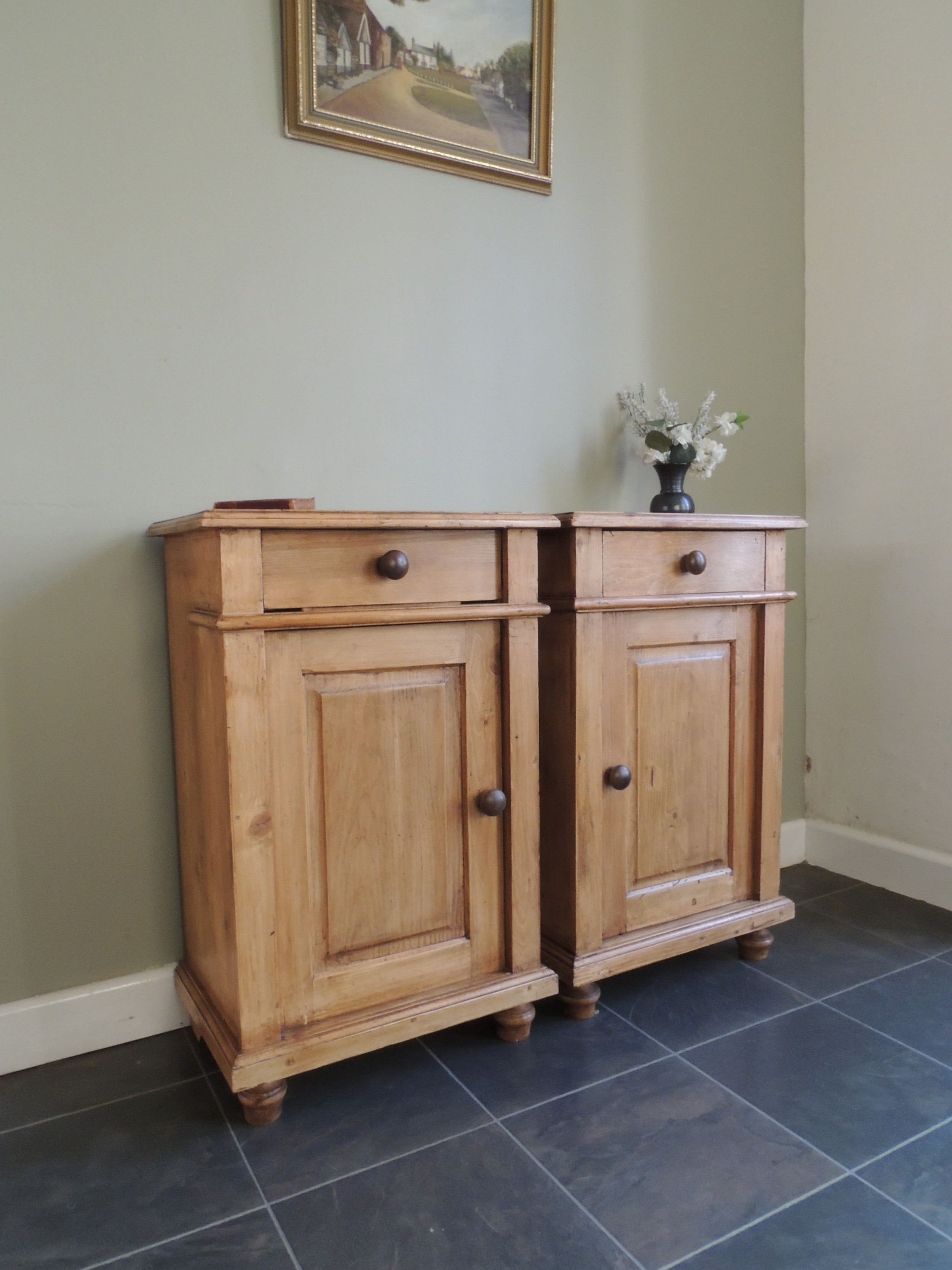 gorgeous edwardian solid pine bedside cabinets matching pair