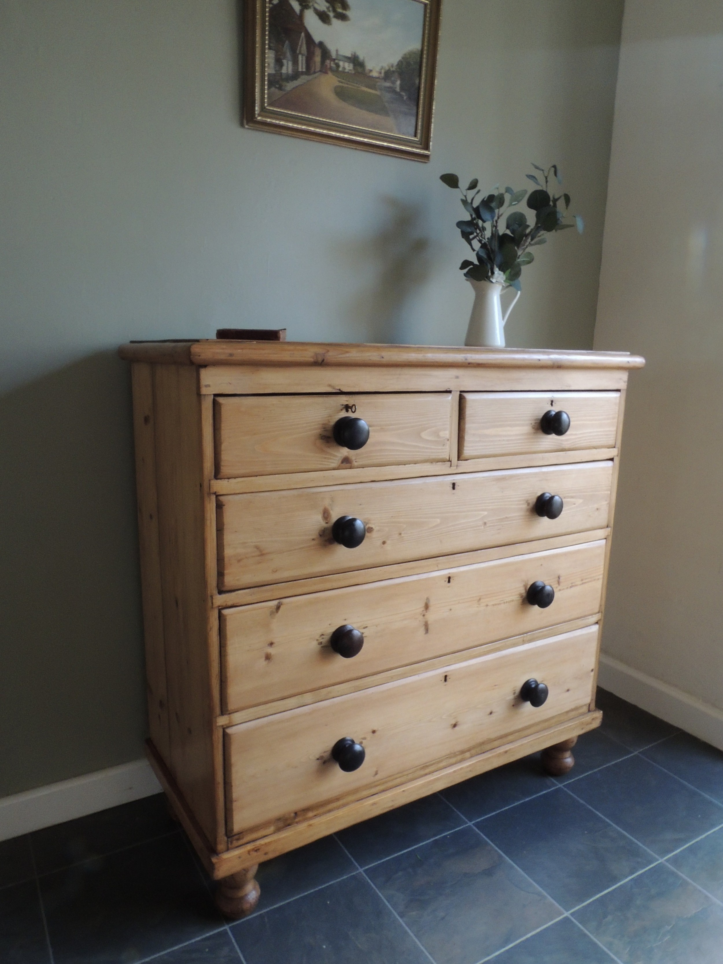 fabulous large solid pine chest of drawers with working key