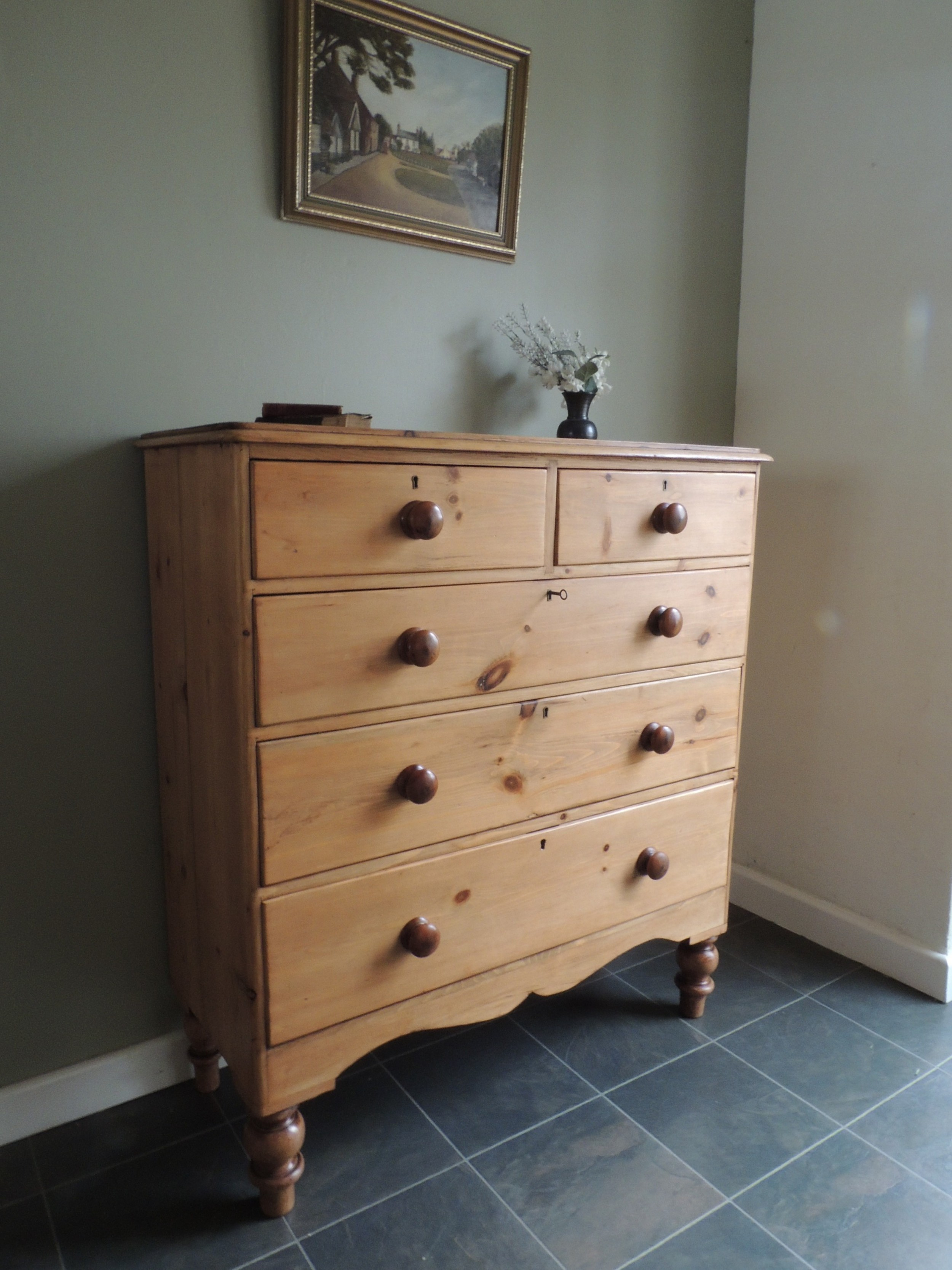 gorgeous large pine chest of drawers all original with key