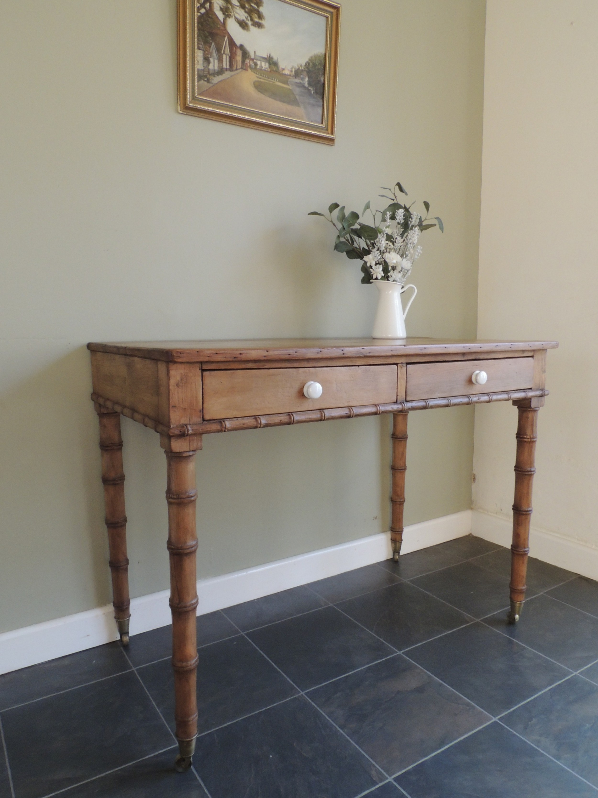 stunning victorian pine hall or side table faux bamboo