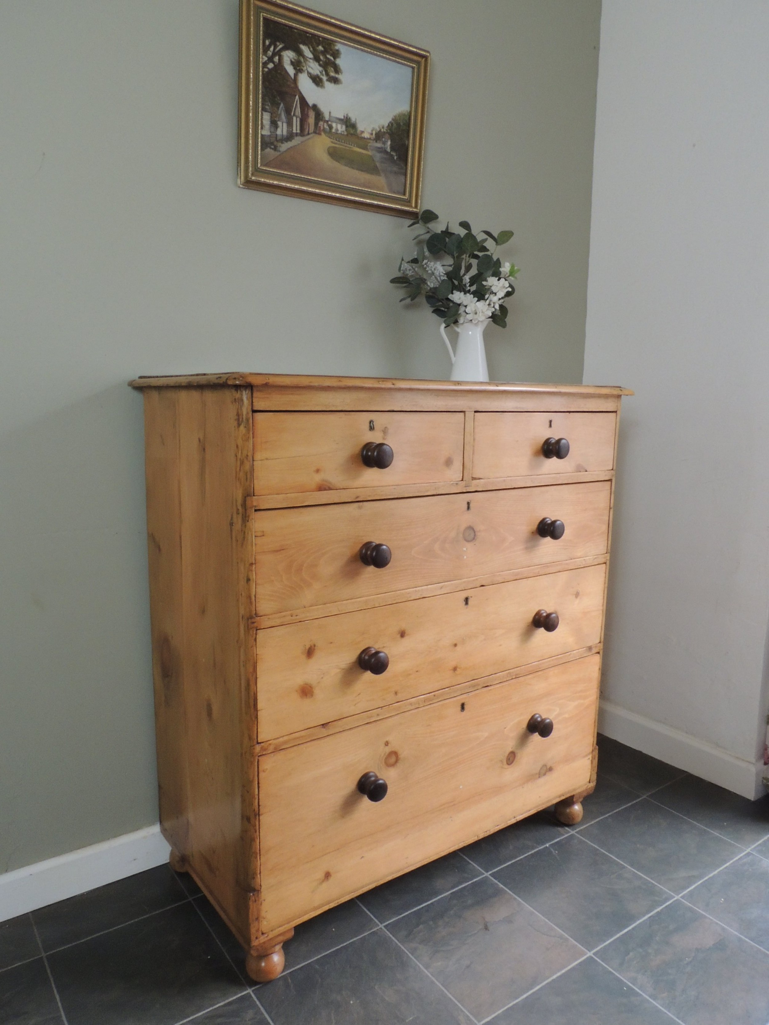 lovely large solid pine victorian chest of drawers