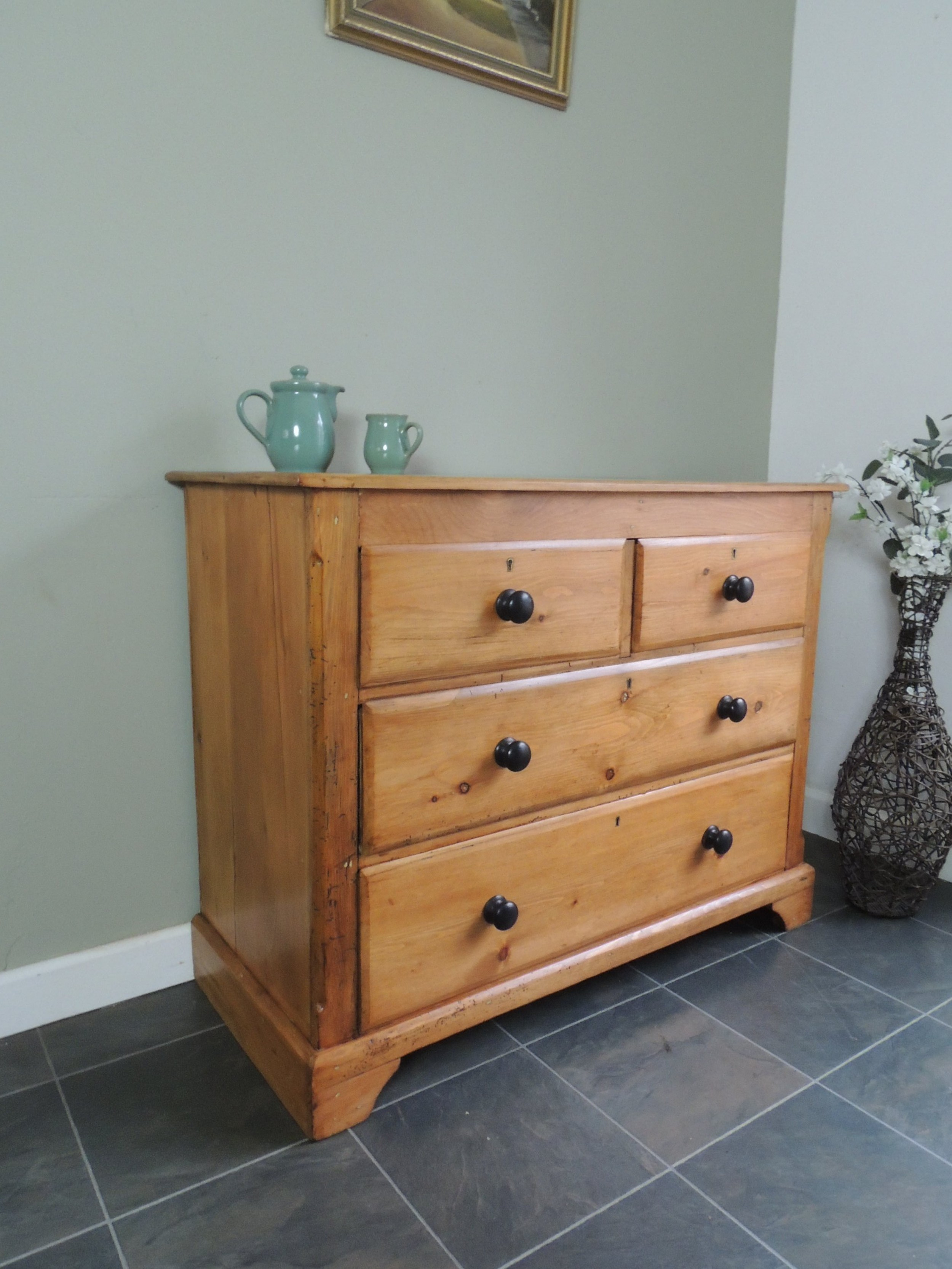 lovely edwardian solid pine stripped chest of drawers