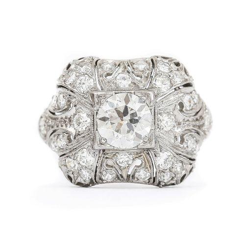 platinum art deco diamond 195 carat bombe dome cocktail ring circa 1920s