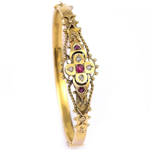fancy antique victorian 15k 15ct yellow gold puginesque ruby and diamond bangle