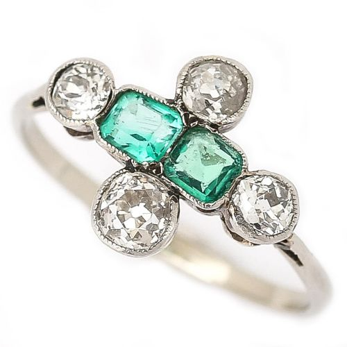antique art deco platinum diamond and emerald 6 stone antique engagement ring circa 1920