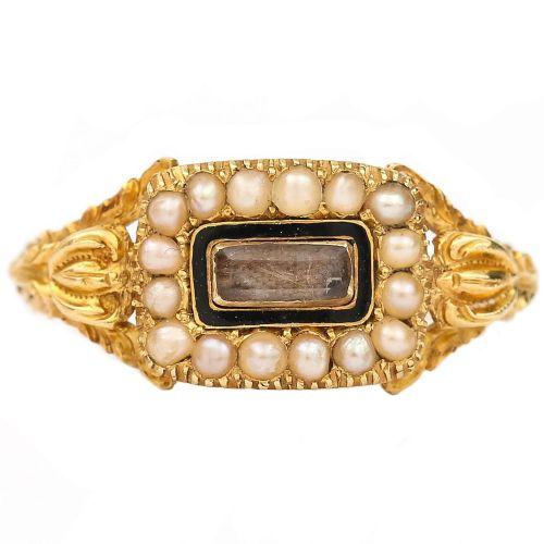 antique english william iv 18 karat gold pearl and enamel mourning ring circa 1830