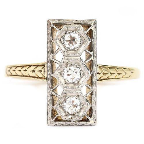 american art deco 14k 14ct yellow and white gold three stone 020ct diamond plaque ring