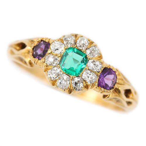 victorian 18 karat emerald amethyst and diamond cluster suffragette ring