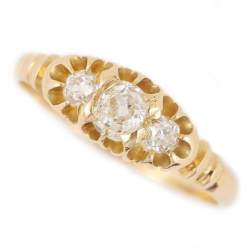 victorian three stone diamond 18 karat gypsy ring circa 1900