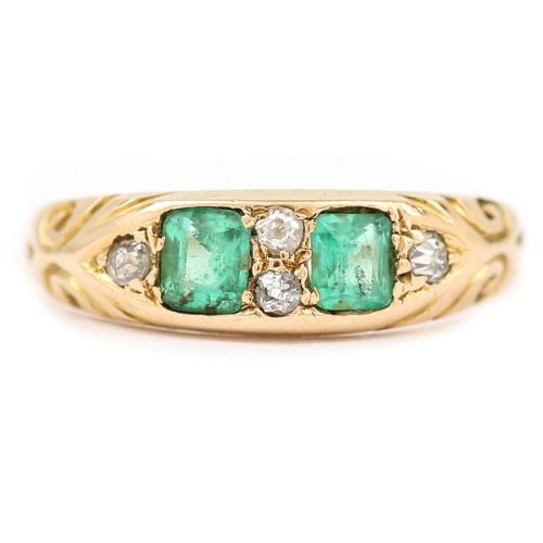 edwardian emerald and diamond 18 karat yellow gold boat shaped ring circa 1900
