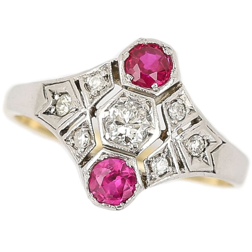 art deco 14ct gold rudy and diamond three stone ring