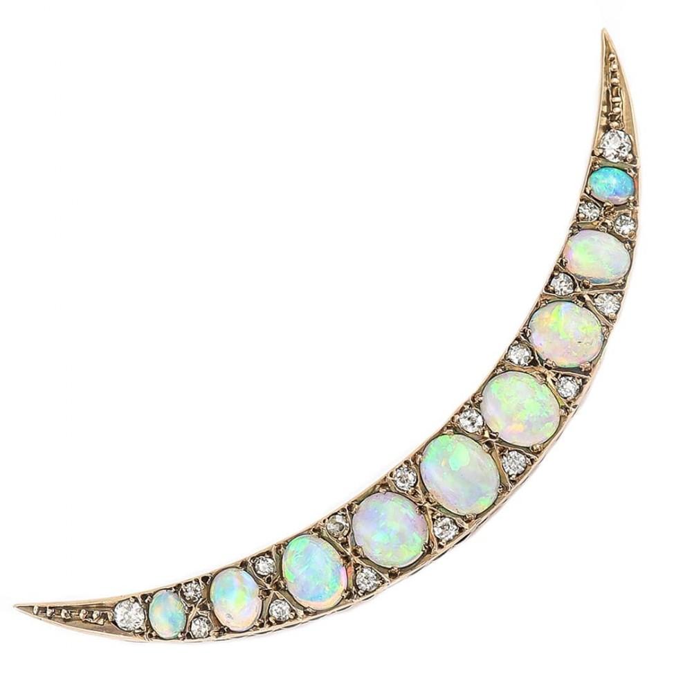 victorian opal and diamond crescent brooch circa 1890