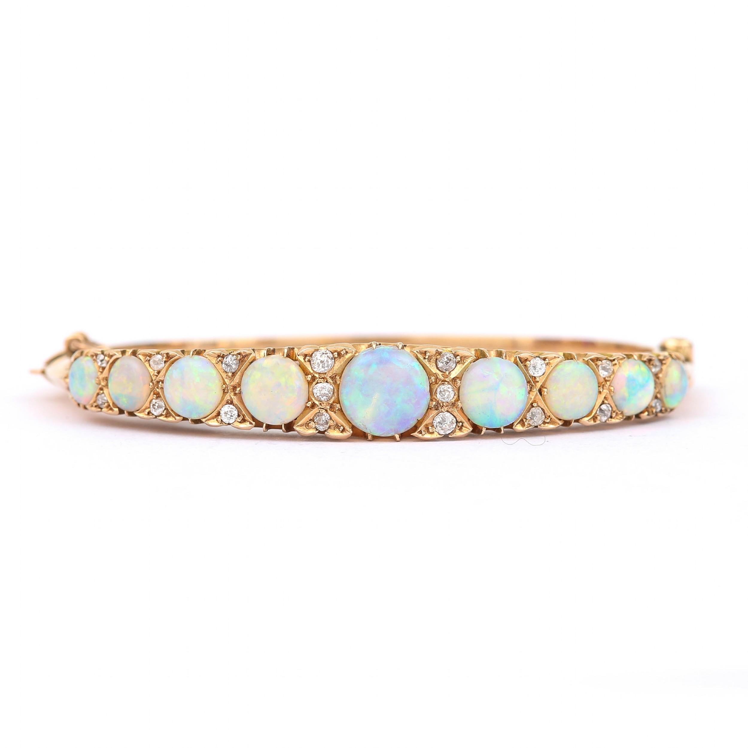 antique victorian antique opal and diamond bangle bracelet 18 karat yellow gold