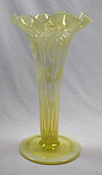 A Large Vaseline Glass Lily Vase C1910 465536 Sellingantiques