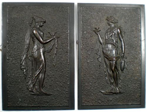 a pair of bronze plaques of classical ladies signed sr 1926