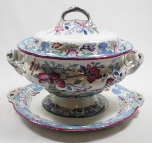 a soup tureen with hand coloured transfer decoration mason's england c1850