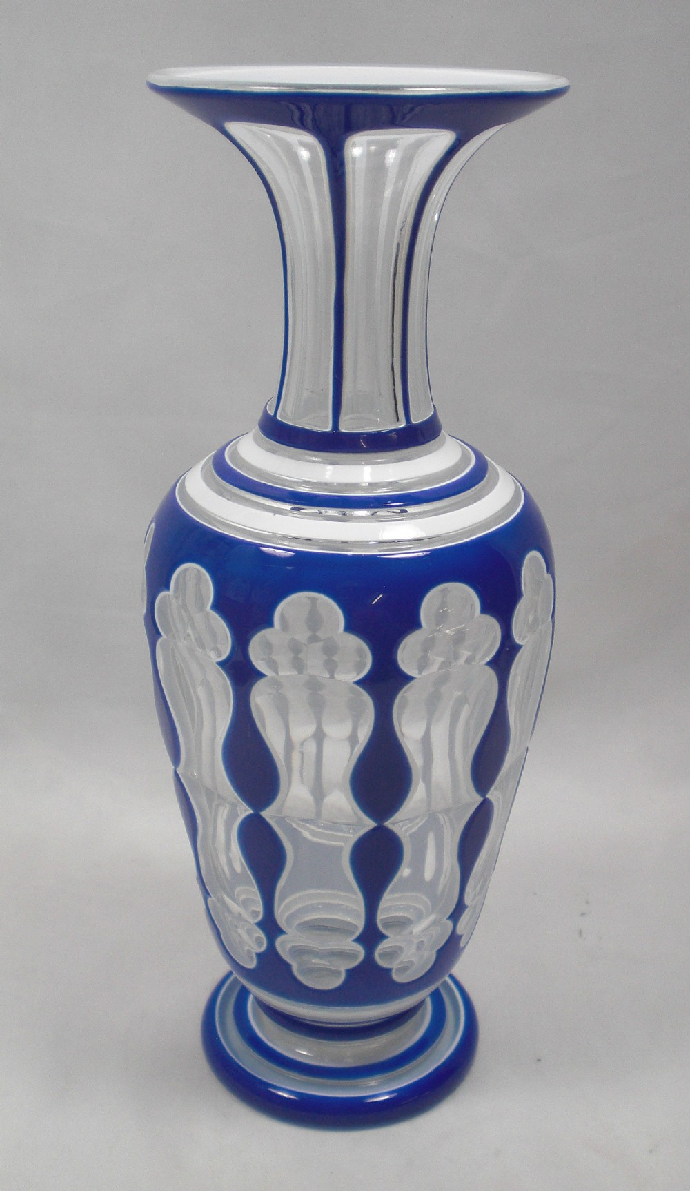 a tall three layer crystal glass vase st louis france c1850