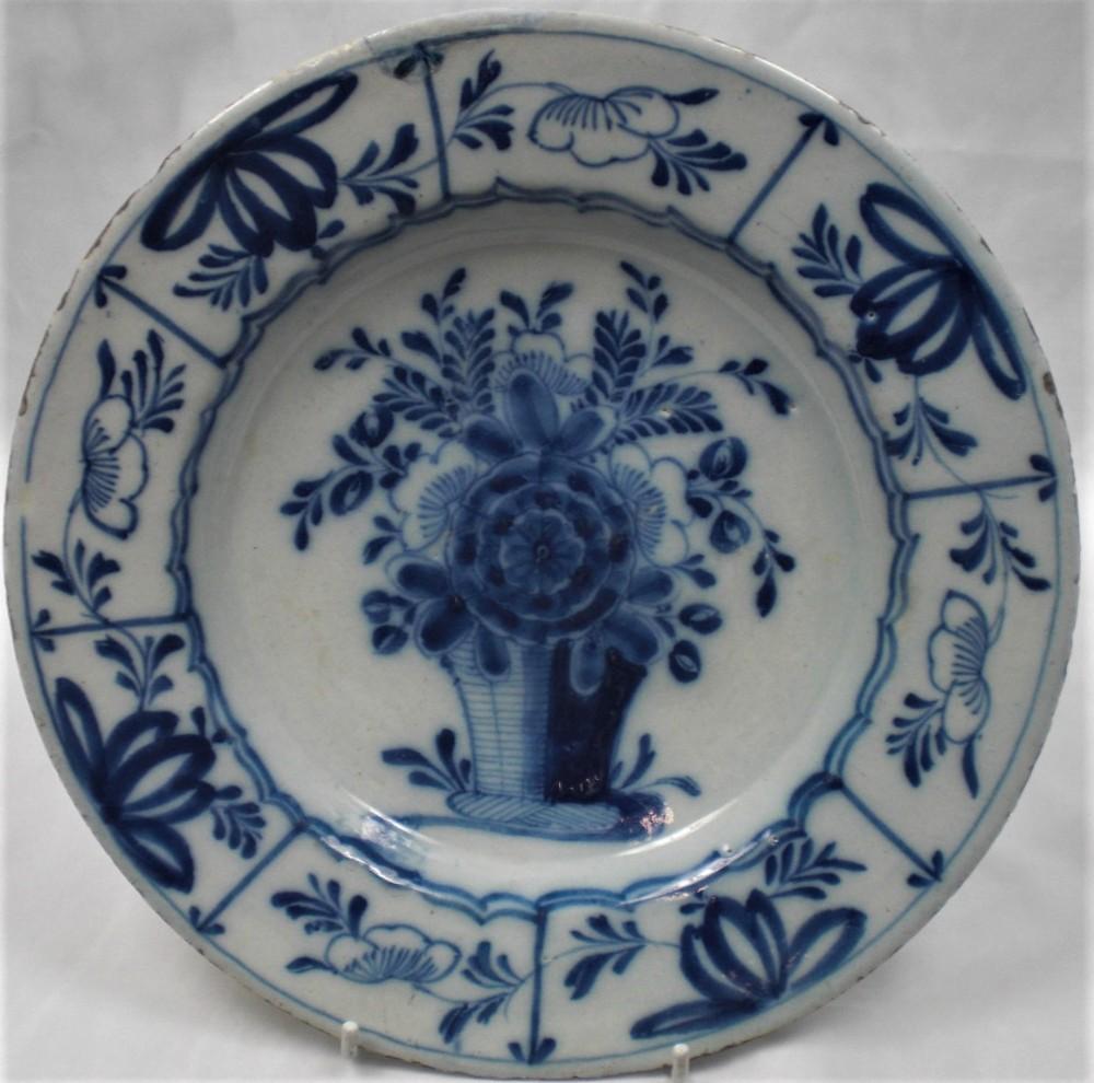 a blue painted delft ware plate dutch c1760