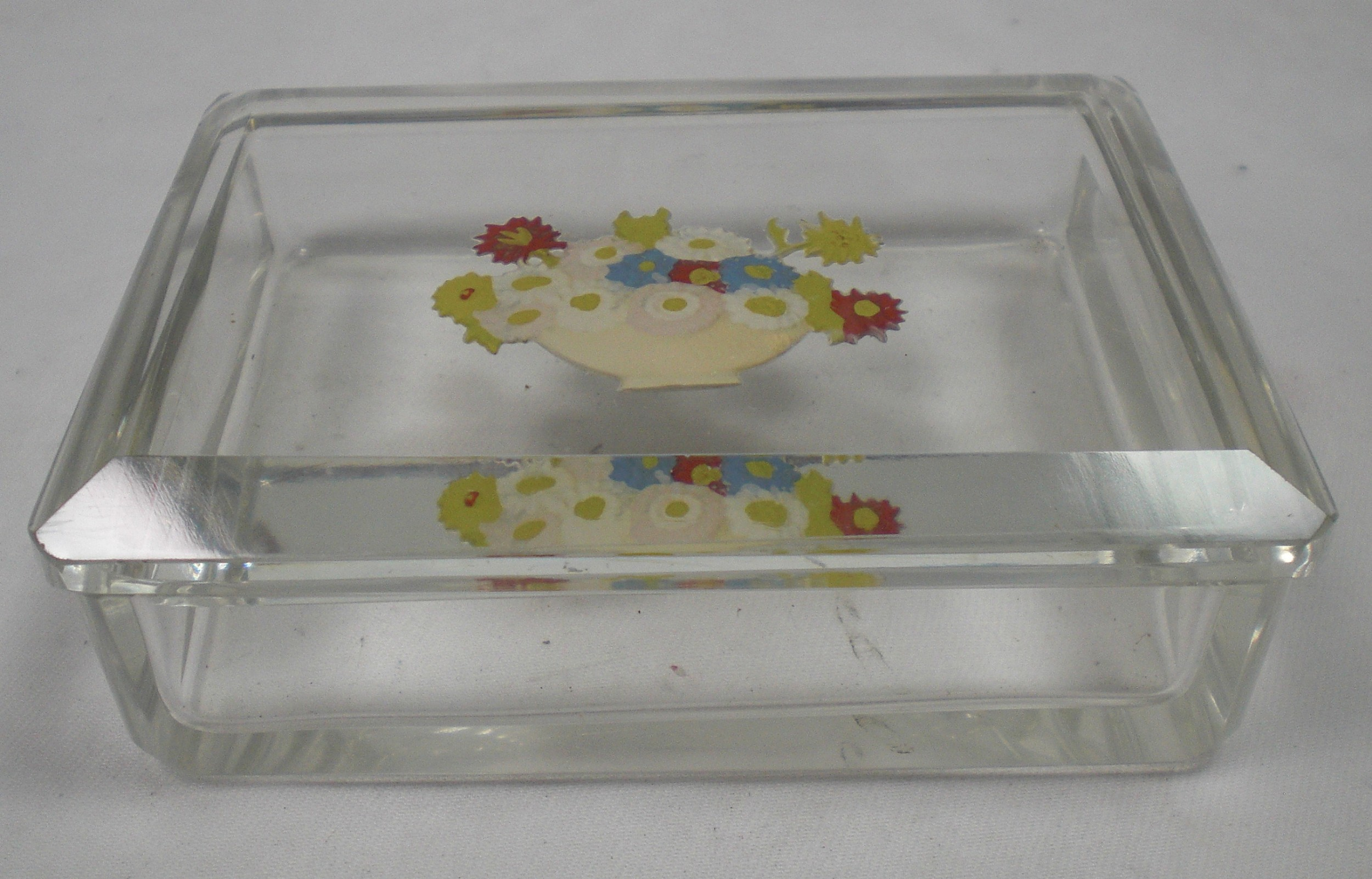 a crystal glass cigarette box with incised and enamel decoration bohemia c1920